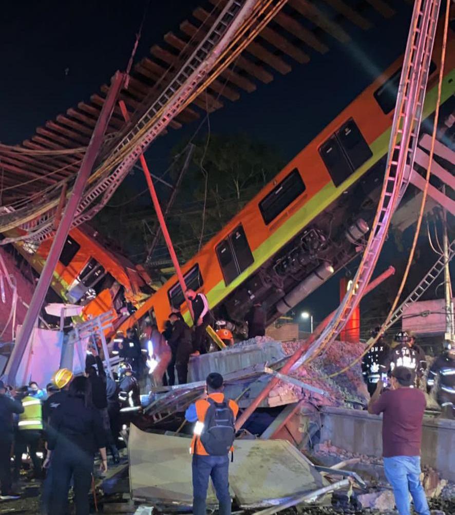 Tren de la línea 12 del Metro de la CDMX se desploma